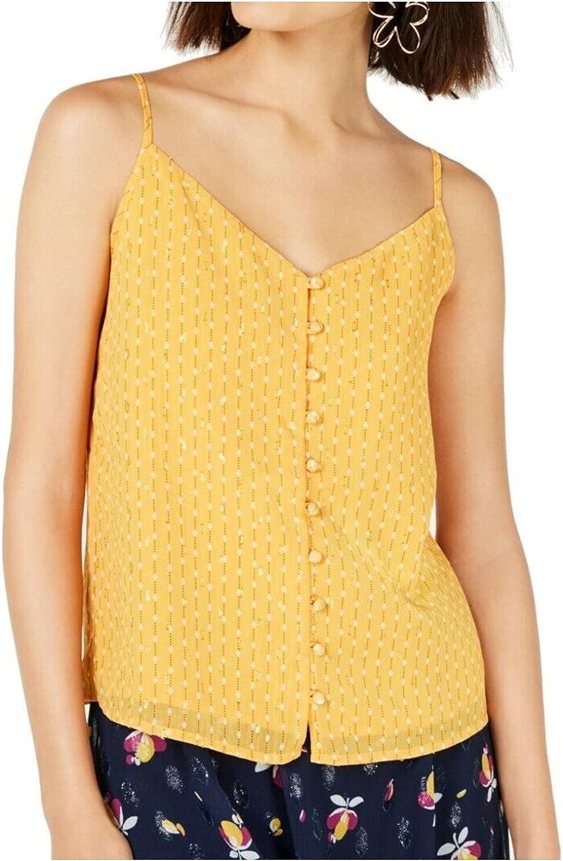 Maison Jules Top V Neck Cami Gold Stripe Button Tank Yellow Sz XS