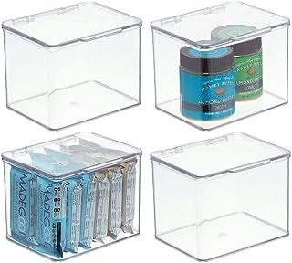mDesign boîte alimentaire avec couvercle – rangement de cuisine empilable en plastique sans BPA – boîte de rangement avec ...