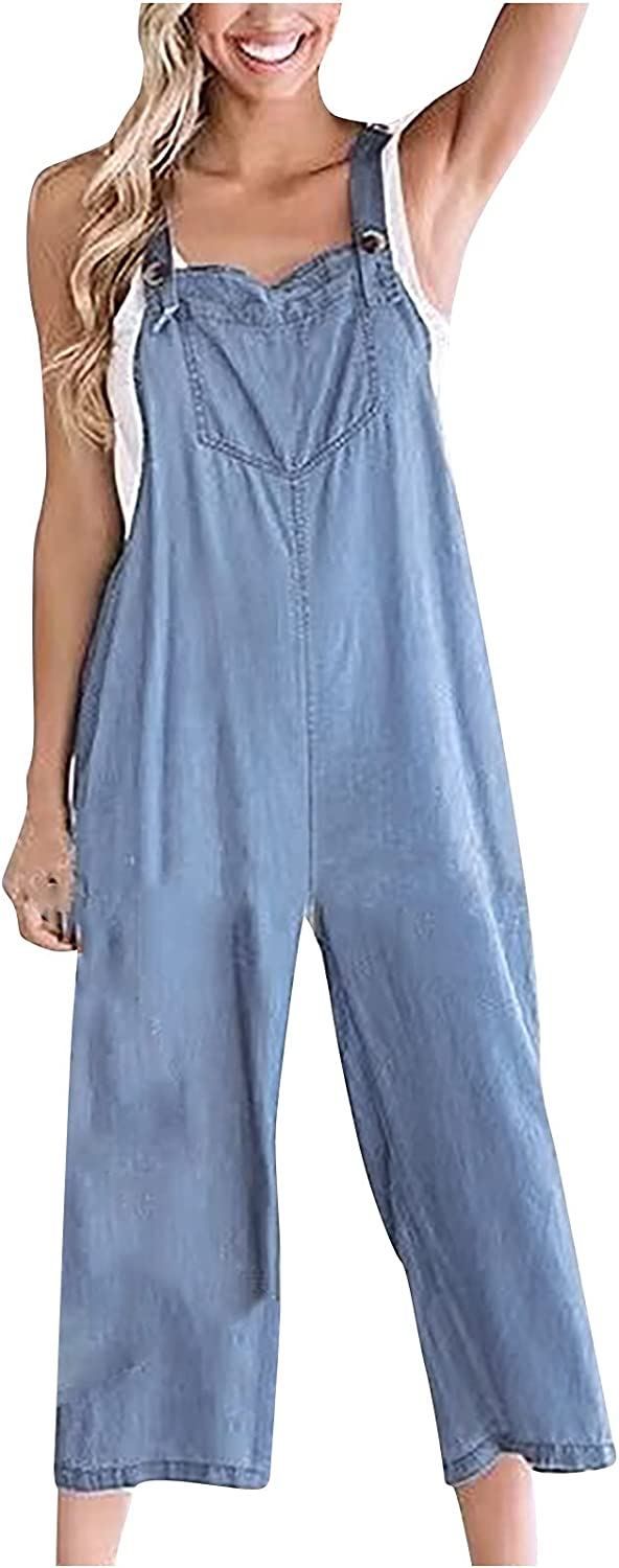 Hesxuno Fashion Denim Rompers and Jumpsuits for Women Summer Casual Solid Sleeveless Suspender Wide Leg Pants Loose Overalls
