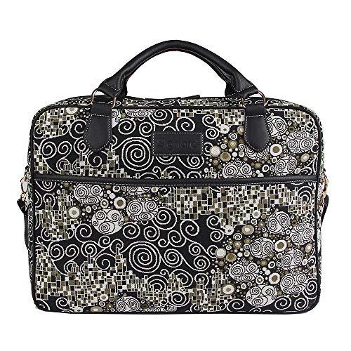 Signare Borsa briefcase donna tessuto stile arazzo alla moda, 15,6 pollici Gustav Klimt (Il bacio)