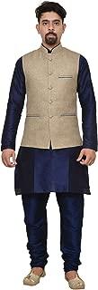 Mag Men's Nevy Blue Matching silk Kurta Churidhar With Sky Blue Joot Waistcoat