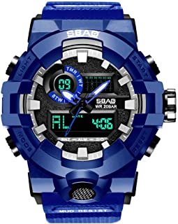 XBKPLO Mens Sport Watch,Multifunction Dual Display Waterproof Outdoor Military Analog Digital LED Mechanical Electronic Wrist Watches Silicone Strap