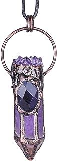 قلادة من الكريستال الطبيعي مع حجر الجيود الجمشت من ياتشمنج لعلاج ريكي، قلادة من حجر المجوهرات العتيقة للرجال والنساء مع حبل