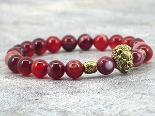Bracciale a testa di leone agata rossa a strisce naturali con perline dorate