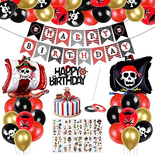Piratenschiff Luftballons Set, 46 Stück Piratenschiff Geburtstag Deko, Piratenschiff Geburtstag Luftballons, Piratenschiff Ballon, Happy Birthday Banner, für Geburtstagdeko Jungen
