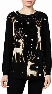 Women's Christmas Sweater   Reindeer Lodge   Long Sleeve Holiday Crewneck Tunic