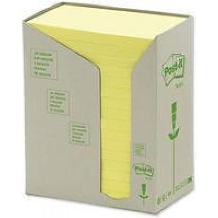 Post-It 91396 Foglietti Adesivi, Torre da 16 Blocchetti, Carta Riciclata al 100%, 127 mm x 76 mm, Giallo