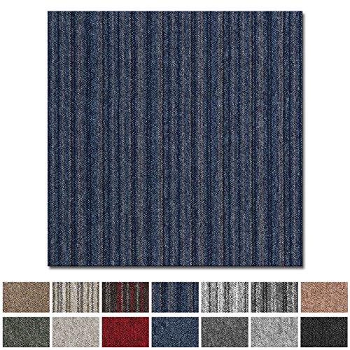 casa pura Teppichfliesen Vienna selbstliegend | hochwertiger Bitumen Rücken | strapazierfähiger Bodenbelag für Büro und Gewerbe | je 50x50 cm (blau gestreift - 1 Stück)