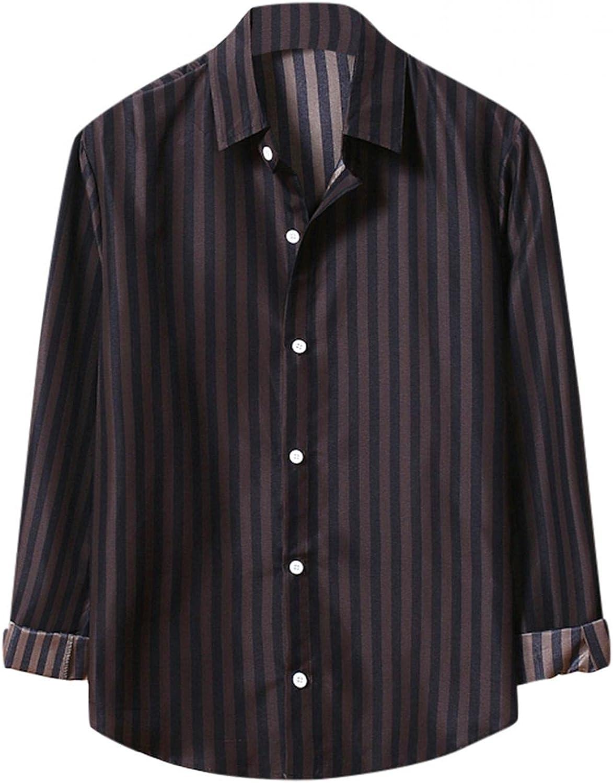 Huangse Men's Casual Regular-Fit Long Sleeve Stripe Button Down Shirt Autumn Lapel Thin Dress Shirts