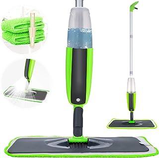 Spray Mop, Tencoz Fregona con vaporizador Integrado Limpiador de Ventanas y Escoba Barredora de Empuje Manual con Almohadilla de Microfibra Reutilizable Aplicable en Seco y Húmedo Limpieza(300ml)