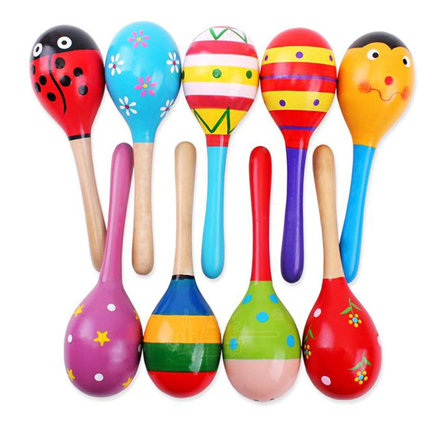 GRACEON Mini Wooden Ball Children Toys Percussion Musical Instruments Sand Hammer Baby Rattles Toy Cartoon Wooden Ball