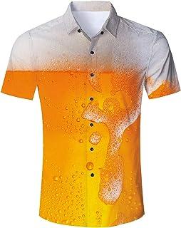 TUONROAD Camicia Hawaiana Uomo Funky 3D Stampa Camicia Manica Corta Camicia da Spiaggia Bottone Estivo Casual Shirt M-XXL