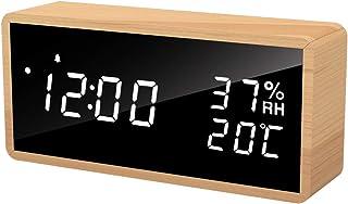 Flysocks Réveil Numérique Bois, Horloge Numérique avec 3 Réglages d'Alarme, Réveil Électronique Alimenté par USB Réveil Sn...