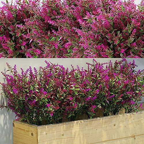 12 Paquets Buissons d'Arbustes Artificiels Lavande de Verdure Artificielle Fleurs Artificielles Plantes Extérieures Résistantes à UV pour Arrangement Floral, Centre de Table (Fuchsia)