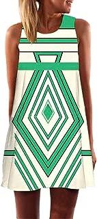 Vintage Boho Women Summer Dress Sleeveless Beach Printed Short Mini Dress