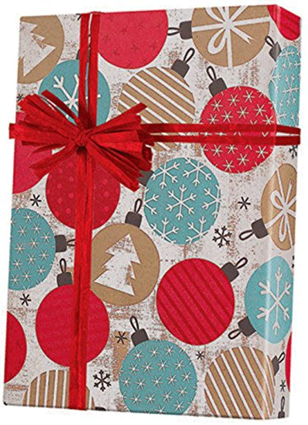 Vintage Kraft Ornaments Christmas Gift Wrap Paper - 15 Foot Roll