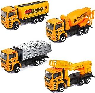 HERSITY 4 Piezas Camión de Ingeniería Construcción Vehículo Coches Juguetes para Niños