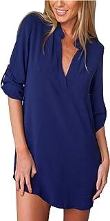 ZANZEA Camicia Donna Vestiti Sexy Camicetta Lunga Elegante Scollo V Manica Lunga Sciolto Blusa Casual