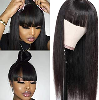 Liwihas Silky Brazilian Virgin Straight Human Hair Wigs with Bangs 130% Density None Lace Front Wigs Glueless Machine Made...