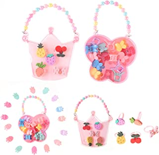 Betukuku 2 Jewelry Boxes, 15 Colorful Hairpins and 5 Fruit Pattern Rings, Girl Princess Jewelry Dress Up Accessories Toy Playset Set