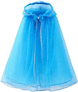 FENICAL Hooded Cloak Cape Girls Princess Cosplay Cape Dress-up Costume Accessory for Toddler Baby Kids Girls - Fit for 120...