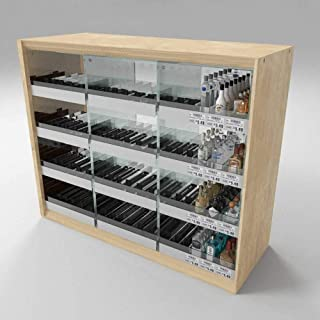 Mini Liquor Bottle Display Case for Countertop, Holds 432 Bottles, Includes Shelf Dividers, Spring Pushers, Wood & Acrylic, 37