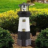 Solalite - Faro tradicional alimentado por energía solar con luz LED para jardín, resina, Blanco, Solar Lighthouse