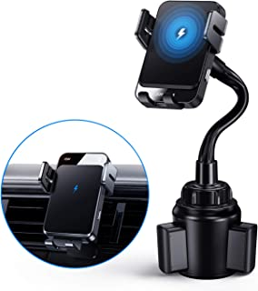 Joyroom Cup Phone Holder Mount Qi Fast Charging Auto Clamping Vent Car Mount for Cell Phone Fit for iPhone 12//11//11Pro Max//Xs Max//XS//8 15W Wireless Car Charger Mount Samsung S10//S10+//S9 etc -Black