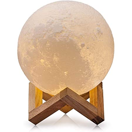 3d Moon Lamp Usb Led Mood Light Magical Lunar Desk Lamp Moonlight Gift 2 Colors White Warm Yellow Two Tone Touch Sensor With Wooden Holder Portable Box 10cm 3 94inch Amazon Co Uk Lighting