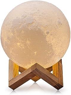 Lámpara de Luna, 3D Lámpara De Mesa USB Regalo luz del tacto de la noche de la luna del LED control, amarillo y blanco Iluminación(10cm/3.95 pulgada)