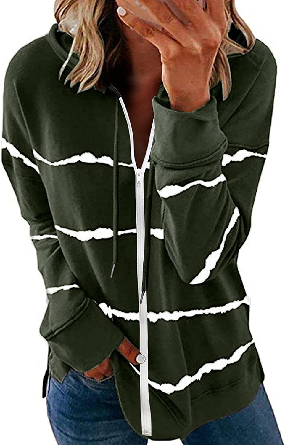 Nulairt Hoodies for Women,Womens Fashion Striped Hooded Sweatshirt Lightweight Zip Up Jackets with Pockets