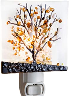 Tree Night Light Decorative Accent Lite Wall Plug in Nightlight for Hallway Bedroom Bathroom Kitchen Nature Themed Home Décor Amber Brown or Blue Purple J Devlin NTL 159 Series