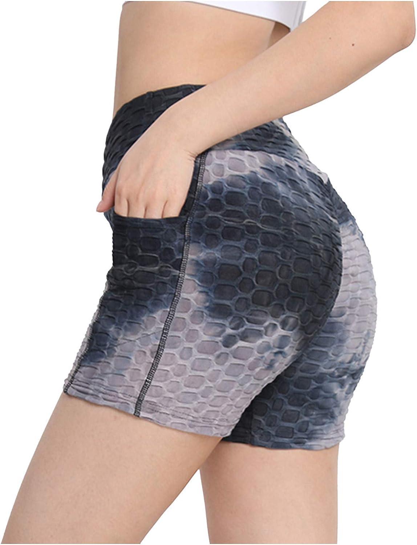 UBST Womens High Waist Yoga Short Side Pocket Workout Tummy Control Bike Shorts Running Exercise Spandex Leggings