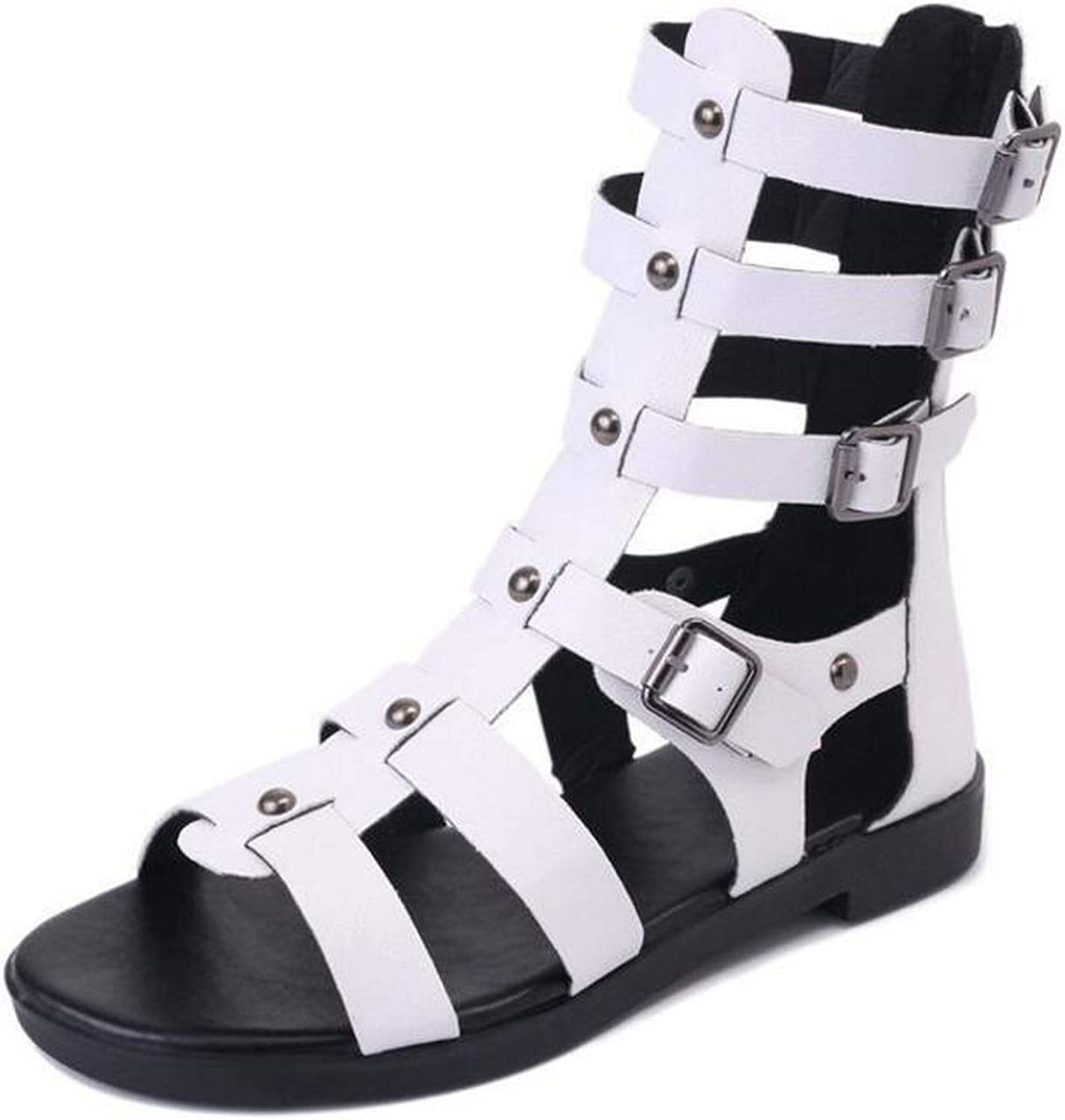 2018 Summer Roman Women mid-Calf Cool Boots Open Toe Casual shoes Fashion Buckle Flat Sandals