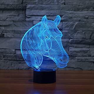 HDZWW 3D Illusion Night Light,LED Table Desk Lamps,Lovely Horse Head 3D Optical Illusion Night Light,7 Colors USB Charge Lighting Bedroom Home Decoration for Kids Christmas Halloween Birthday Gift