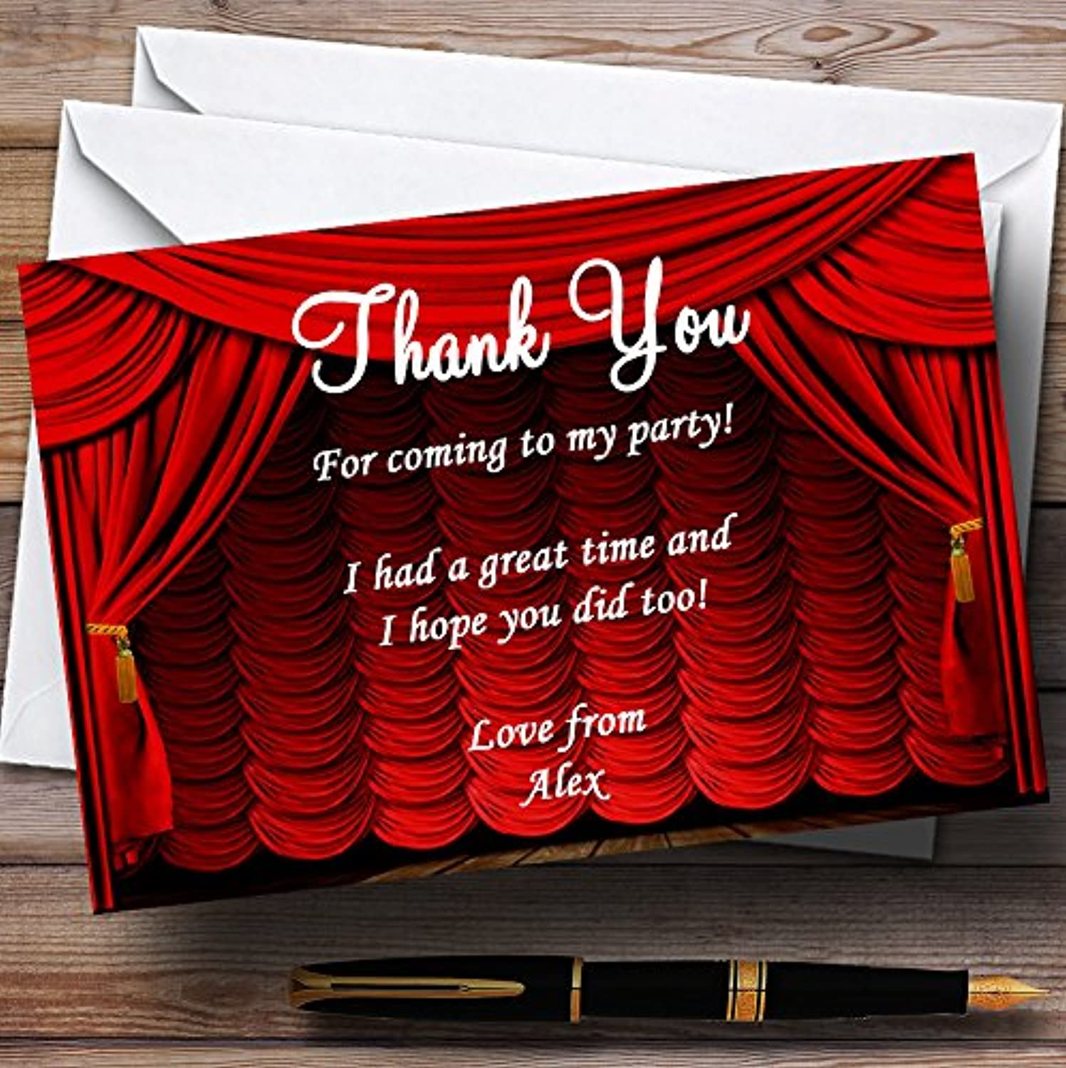 Red Theatre Curtains Stage Personalised Party Thank You Cards