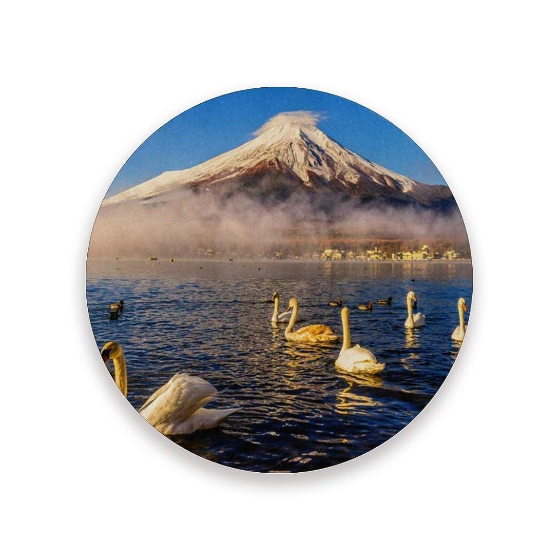 ウェイトレスギャップ温度コースター おしゃれ 茶パッド 富士山 白鳥柄 滑り止め エコ 速乾 抗菌 消臭 4枚セット