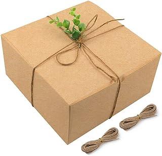 Moretoes Cajas de regalo de color café, 15 cajas de cartón de 20 x 8 x 10 cm, con tapas para regalos, cajas de magdalenas,...