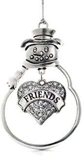Inspired Silver - Best Friends Charm Ornament - Silver Pave Heart Charm Snowman Ornament with Cubic Zirconia Jewelry