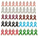100Pcs Breast Cancer&AIDS Awareness Charm 8 Colors Ribbon Pendants Charm Jewelry DIY Accessories for Necklace Bracelet Making Crafts