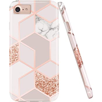 JAHOLAN Stylish Shiny Rose Gold Marble Design Clear Bumper Glossy TPU Soft Rubber Silicone Cover Phone Case Compatible with iPhone 7 iPhone 8 iPhone 6 iPhone 6S