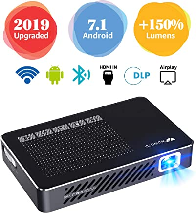 """Mini Projector WOWOTO A5 Pro 100ANSI Android 7.1 2+32G Portable DLP Video Projector 150"""" Home Theater Projectors with BT4.0 Support WiFi Wireless Screen Share 1080P HDMI USB SD Card"""