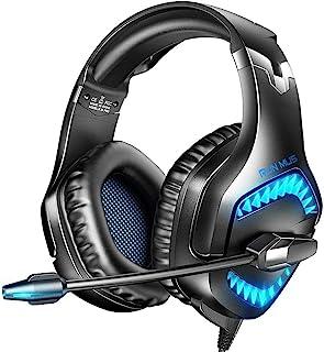 Auriculares para Juegos para PS5, Xbox One, Auriculares de PC con Sonido Envolvente 7.1, Auriculares PS5 con Micrófono Cancelación de Ruido & Luz LED, Compatible con Nueva Xbox One, PC, PS5, PS4, Mac, Portátil (Azul)
