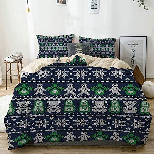 Yoyon Duvet Cover Set Beige,Scandinavian Style Stitch Penguins Teddy Bears Angels Gingerbread Man,Decorative 3 Piece Bedding Set with 2 Pillow Shams