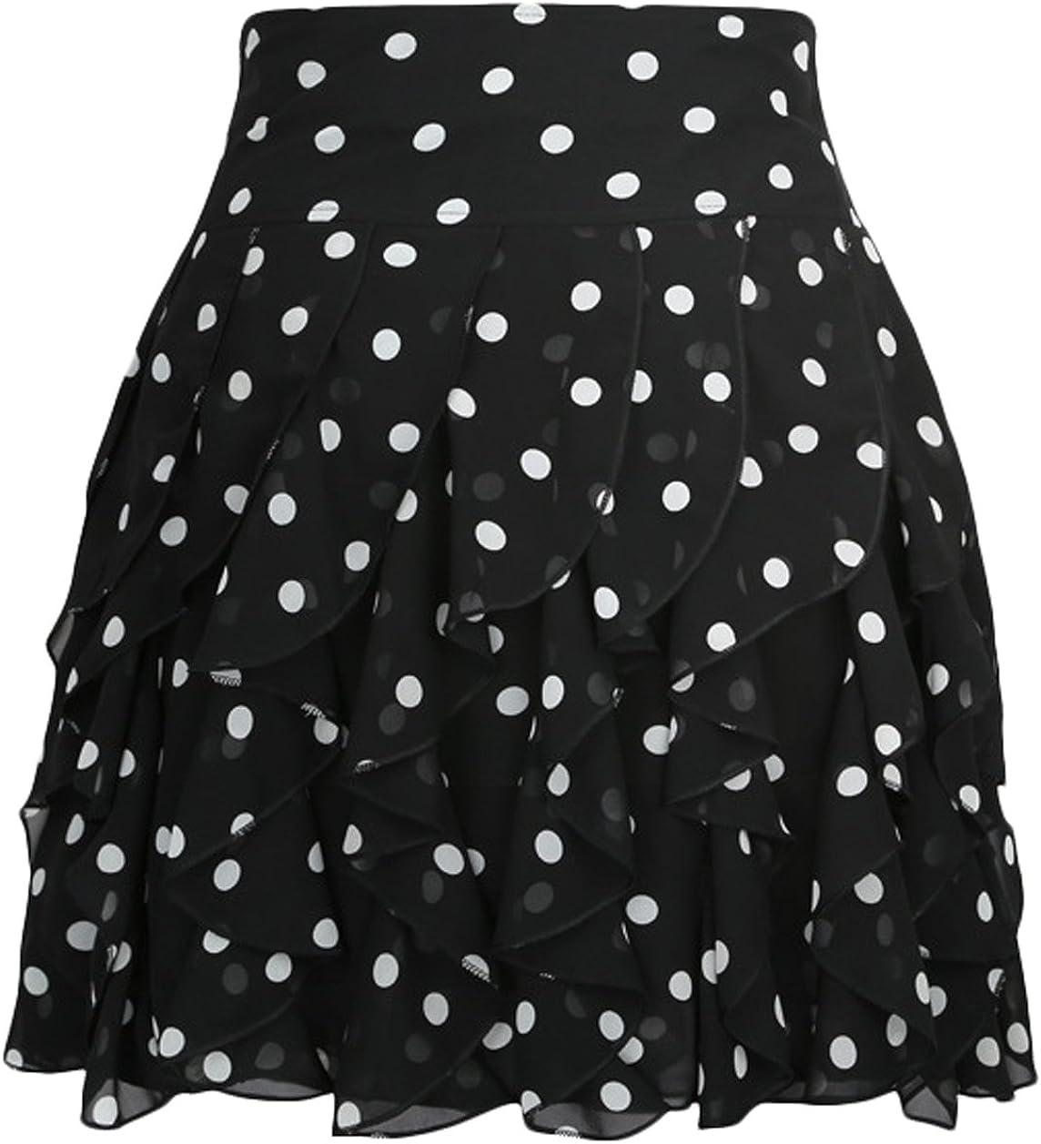 Youhan Women's Casual Layered Chiffon A-Line Pleated Mini Skirt