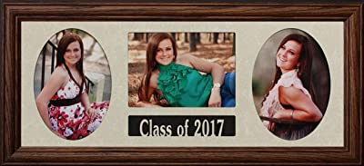 """PersonalizedbyJoyceBoyce.com 8x20 Class of 2017 Graduate Photo Picture Collage Frame ~ Holds 3-5""""x7"""" Photos ~ Graduation Gift (Walnut)"""