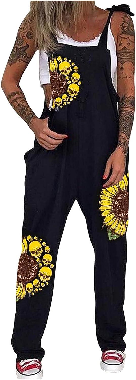 Akklian Womens Punk Bib Overalls Dark Black Skull Printed Jumpsuit Loose Beach Party Outfit Stretchy Long Pants Romper
