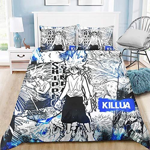 Duvet Cover Set, Hunter X Hunter Single/Double/King Bed Reversible Microfiber Quilt Cover with Ziper,Manga Image Cartoon Print,Bedroom,Dorm room,Decorative 3 Piece Bedding Sets