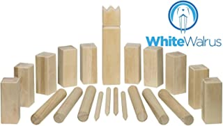 White Walrus Professional Kubb Game - Official USA National Kubb Tournament Size by Games - FREE Carrying Case Included!