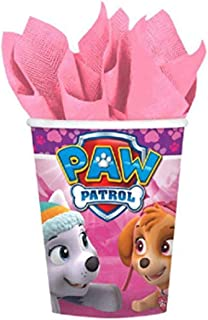 Girl Pups Paw Patrol 8 Pack 9 oz. Paper Cups Birthday Party Supplies Skye & Everest